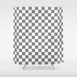 Small Checkered - White and Gray Shower Curtain