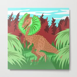 Kiwi Dilophosaurus Illustration Metal Print