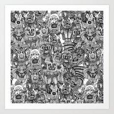 gargoyles black white Art Print