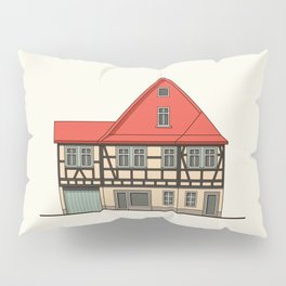 Half-timbered house with red roof Pillow Sham