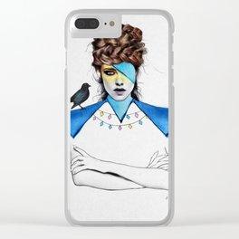 Blue Girl & Black Bird Clear iPhone Case