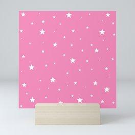 Scattered Stars on Pink Mini Art Print