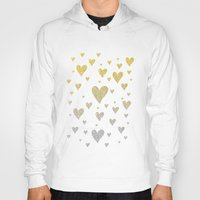 gold glitter Hoodies featuring Glitter Hearts by Psychae