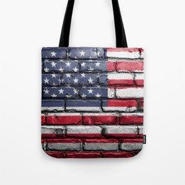 US Flag Painted on Wall Peeling on a City Street Art Tote Bag