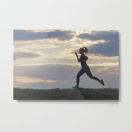 Running woman morning workout. Female Runner. Jogging during sunrise. Workout in a Park. Sporty Metal Print