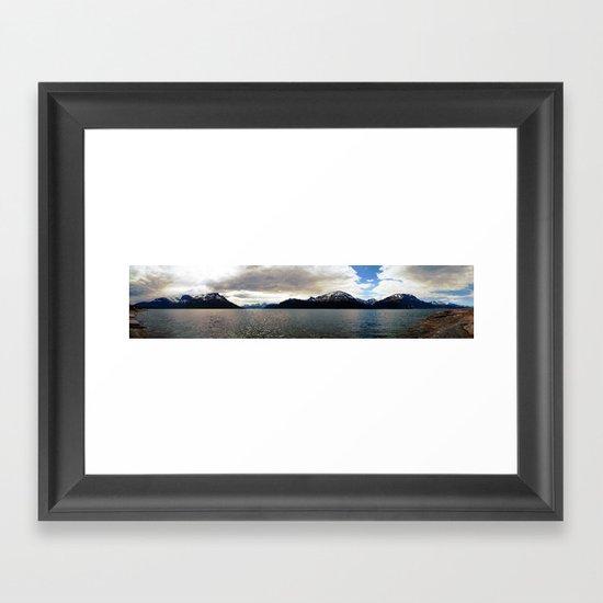lyngen fjord panorama, norway. Framed Art Print