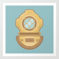 scuba Art Prints featuring Scuba by CaseyIllustrates