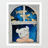 dreamer Art Prints featuring Dreamer by Zina Nedelcheva