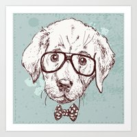 puppy Art Prints featuring Puppy by Iriskana