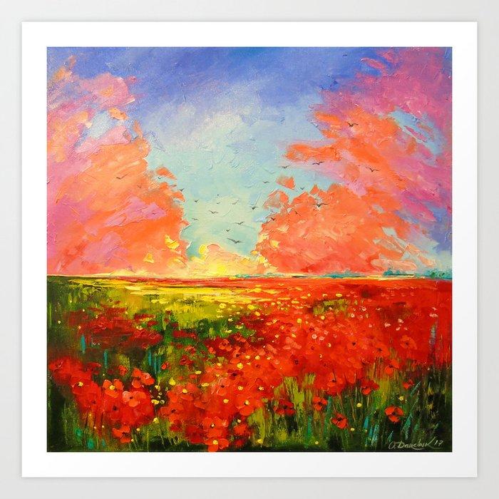 Dawn of the poppy field Art Print