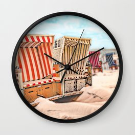 Baltrum Beach Huts, Germany Wall Clock
