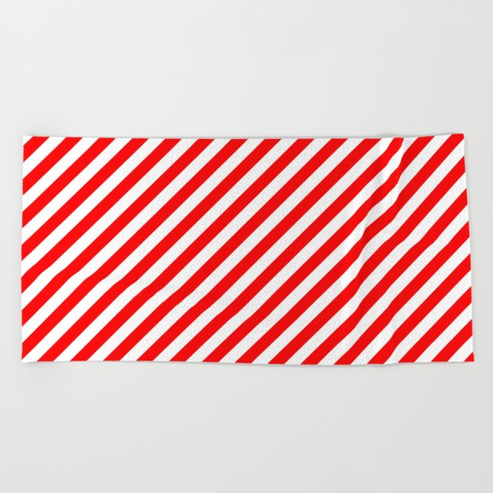 Diagonal Stripes (Red/White) Beach Towel