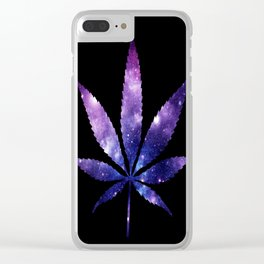 Weed : High Times purple blue Galaxy Clear iPhone Case