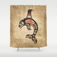 killer whale Shower Curtains featuring Red and Black Haida Spirit Killer Whale by Jeff Bartels