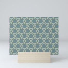 Soft Aqua Blue Green Tessellation Line Pattern 20 2021 Color of the Year Aegean Teal Salisbury Green Mini Art Print