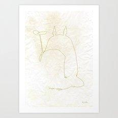 One line Totoro Art Print