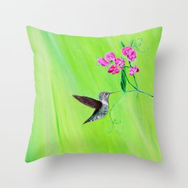 Hummingbird & Sweet Peas Throw Pillow