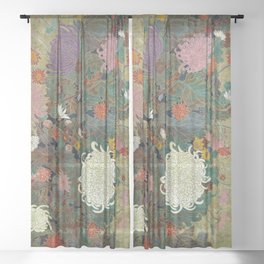 flower【Japanese painting】 Sheer Curtain