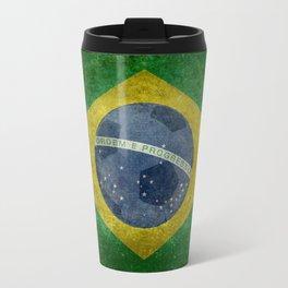 Vintage Brazilian National flag with football (soccer ball) Travel Mug