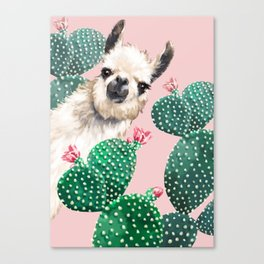 Llama and Cactus Pink Canvas Print