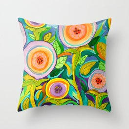 Peach Peonies in the Garden Throw Pillow
