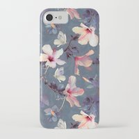 ink iPhone & iPod Cases featuring Butterflies and Hibiscus Flowers - a painted pattern by micklyn