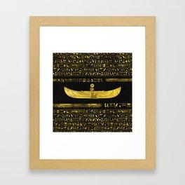 Golden Egyptian God Ornament on black leather Framed Art Print