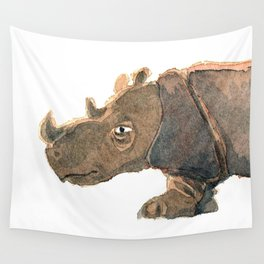 Thinking Rhinoceros Wall Tapestry
