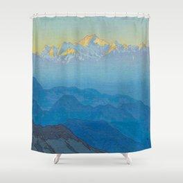 Khanchinjanga Afternoon Vintage Beautiful Japanese Woodblock Print Hiroshi Yoshida Shower Curtain