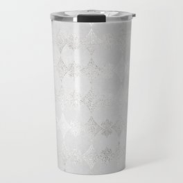 Metallic Silver Geometric Travel Mug