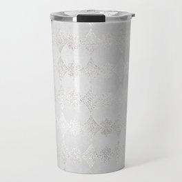 Metallic Silver Geometric Travel Mug