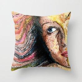 Rainbow World Girl Society Remix Throw Pillow