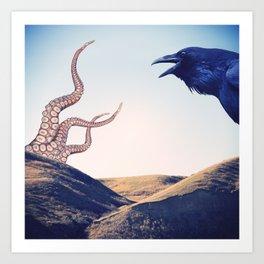 Raven vs Kraken Art Print