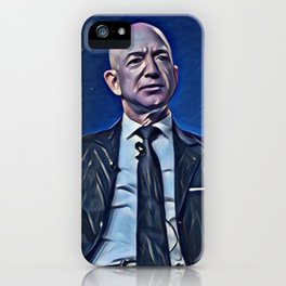 Jeff Bezos Talking Artistic Illustration Deep Blue Style iPhone Case