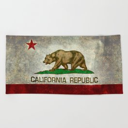 California Republic State Flag Vintage Beach Towel