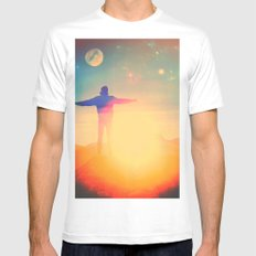 Can't Beat The Feeling White Mens Fitted Tee MEDIUM