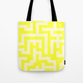 Cream Yellow and Electric Yellow Labyrinth Tote Bag