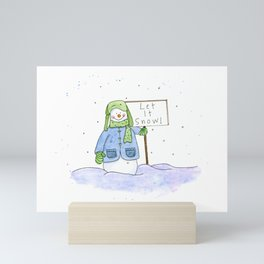 "Watercolor Painting of a Snowman with ""Let it Snow"" Sign Mini Art Print"