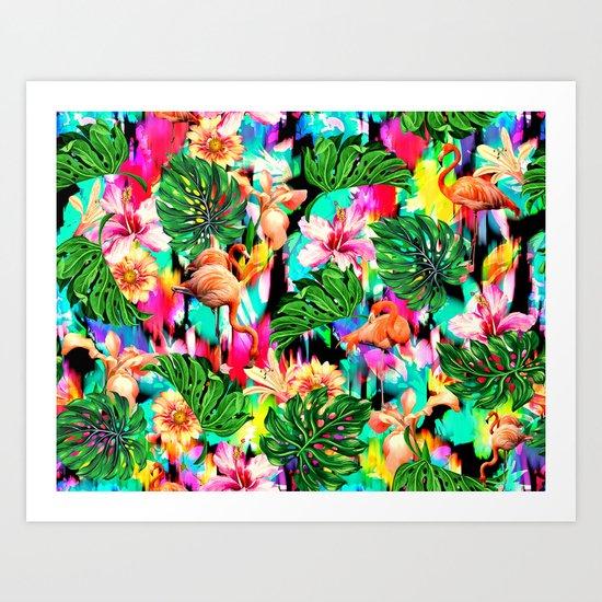 Flamingo and Tropical Pattern Art Print
