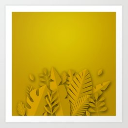 Golden Monochromatic Vegetation Art Print