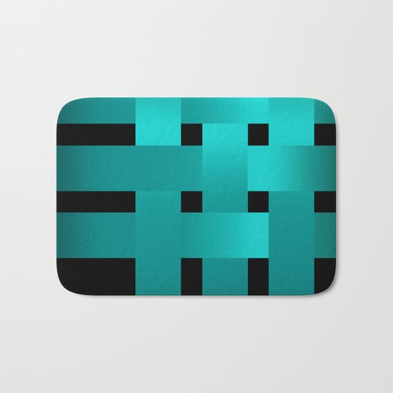 Abstraction .Weave turquoise satin ribbons . Patchwork . Bath Mat