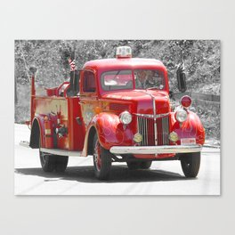 Red Fire Truck Photography Art Canvas Print