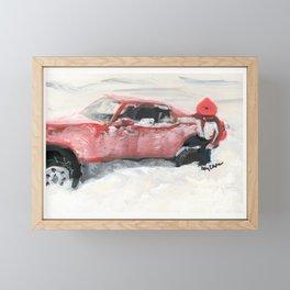 buried in a blizzard  c. 1987. Framed Mini Art Print