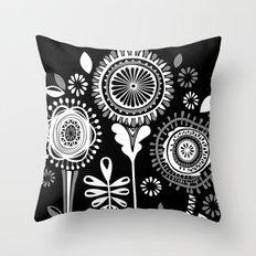 Folksy Flowerheads reverse Throw Pillow