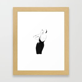 Graphic fashion sketch woman in dress Framed Art Print