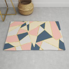 Girly Geometric Triangles with Faux Gold Rug