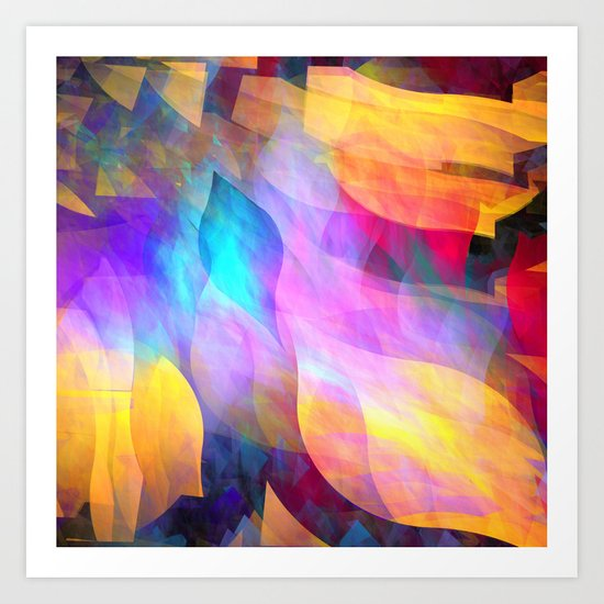 Colourful abstract with leaf shapes Art Print