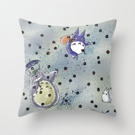 Totoro&Chibi Throw Pillow