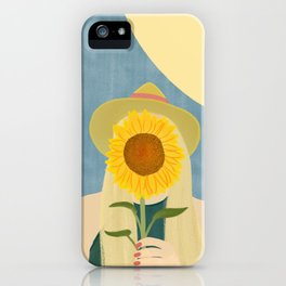 Woman with Sunflower iPhone Case