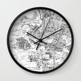 Vintage Map of Oakland California (1959) BW Wall Clock